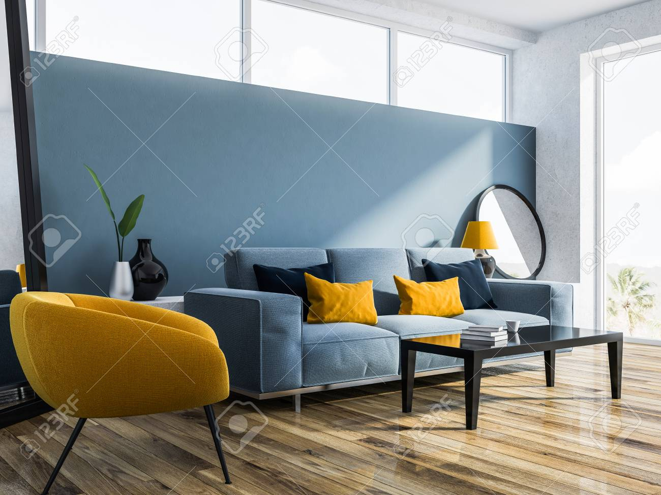Modern Living Room Interior With Blue Walls A Wooden Floor And Stock Photo Picture And Royalty Free Image Image 106225687