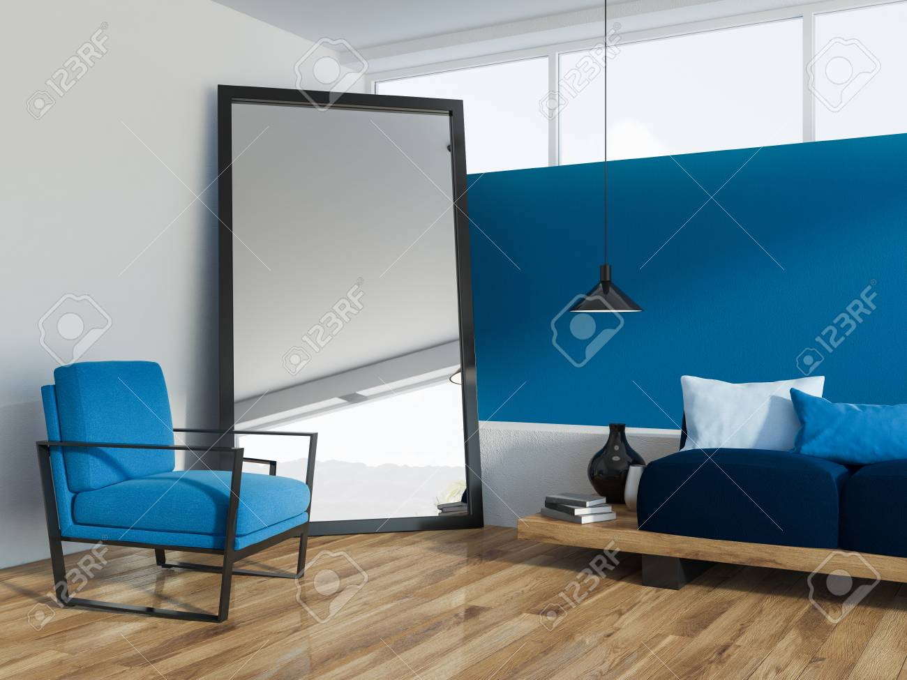 Blue Living Room Corner With A Wooden Floor A Loft Window And Stock Photo Picture And Royalty Free Image Image 106225832