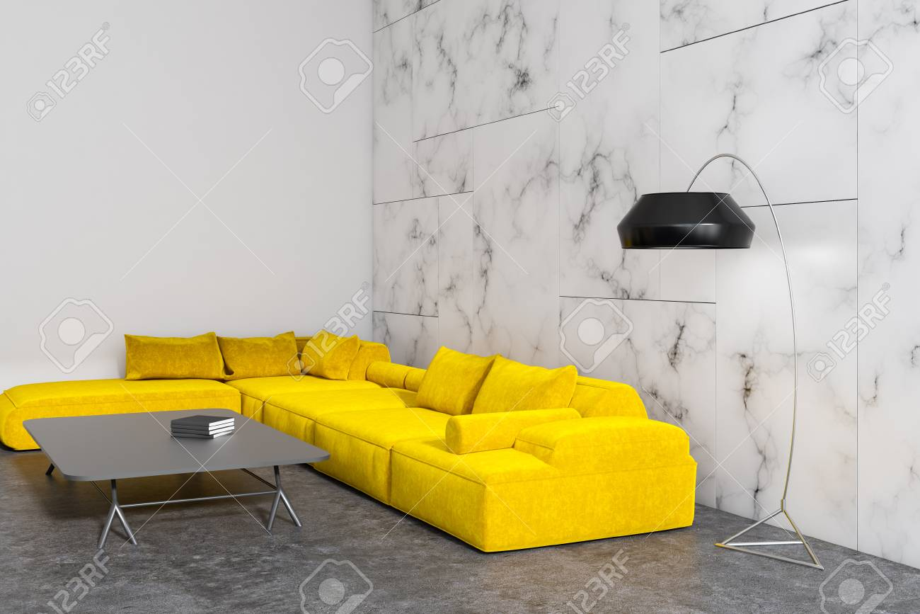 Modern living room interior with white marble walls a concrete floor and a yellow sofa