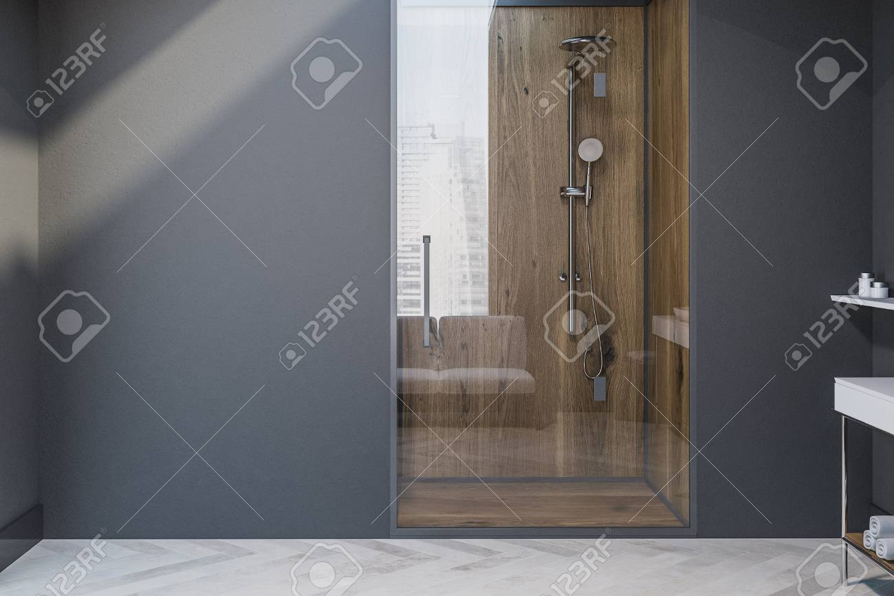 Scandinavian Bathroom Interior With Grey Walls, A White Wooden ... on