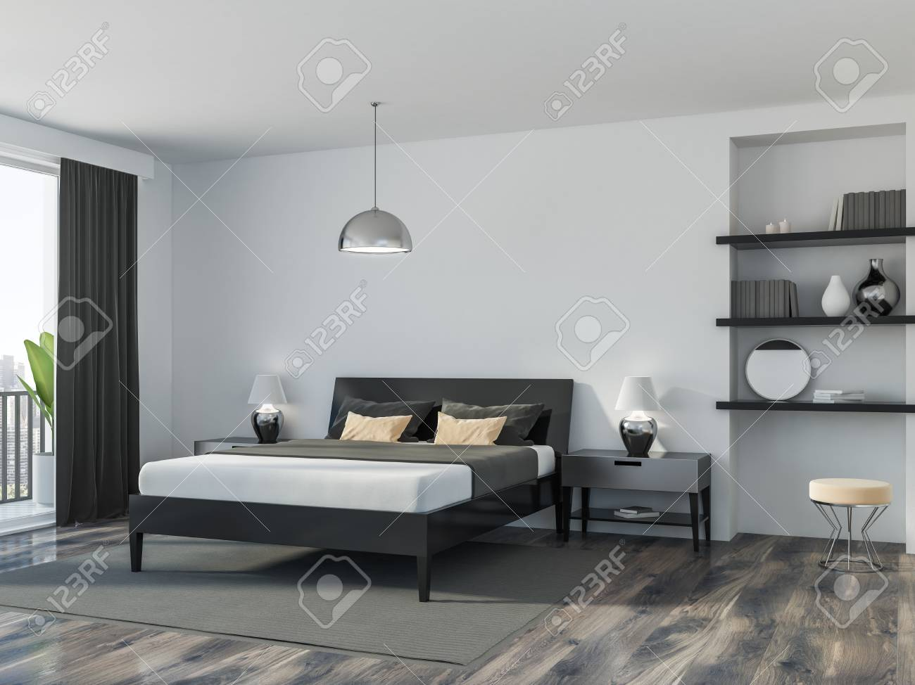 Corner Of A Modern Bedroom With White Walls A Wooden Floor