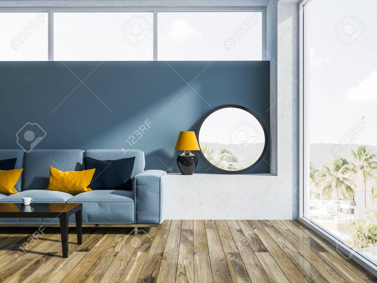 Modern Living Room Interior With Blue Walls A Wooden Floor And