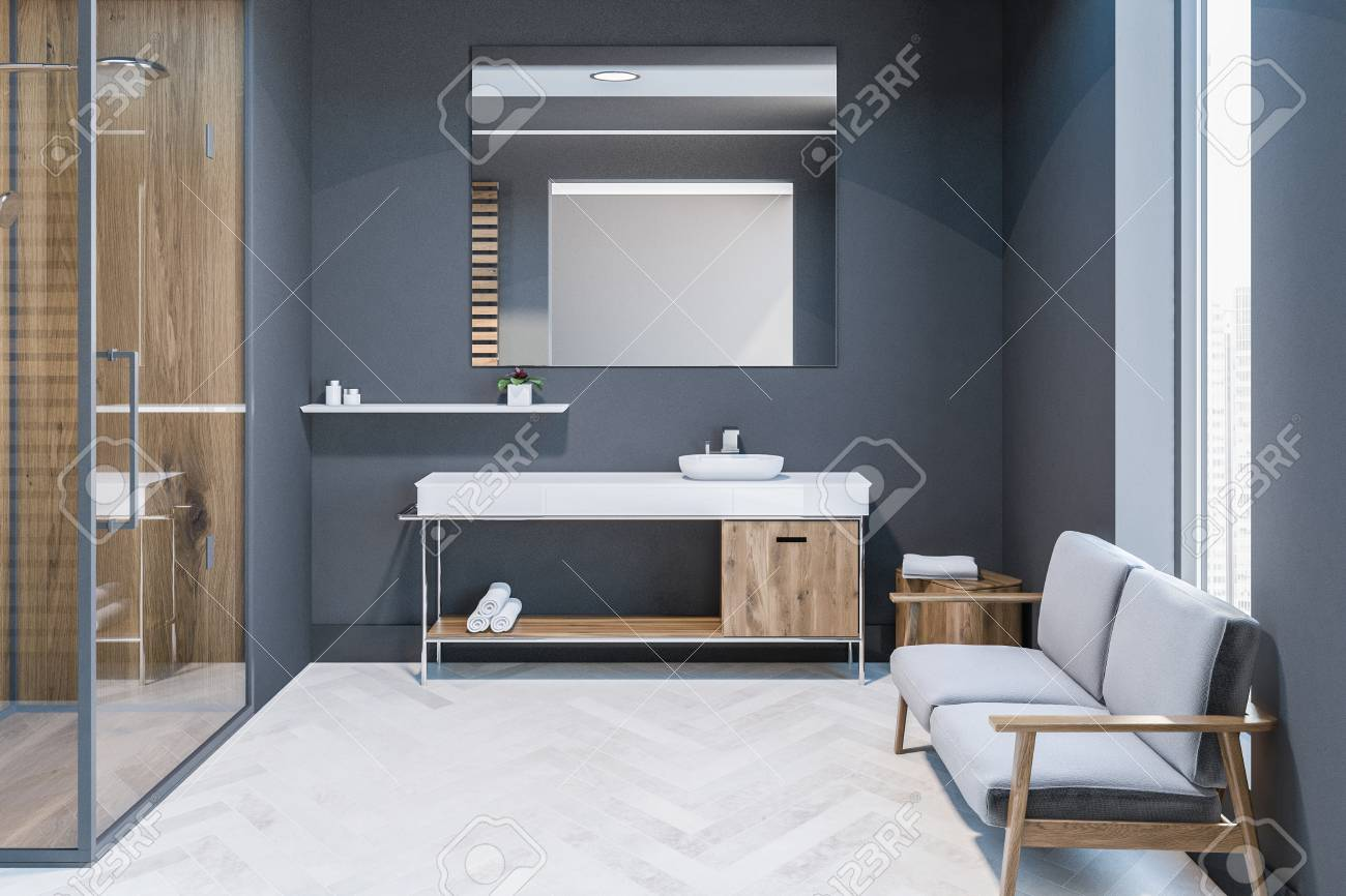 Modern Gray Wall Bathroom Interior With White Wooden Floor Wood