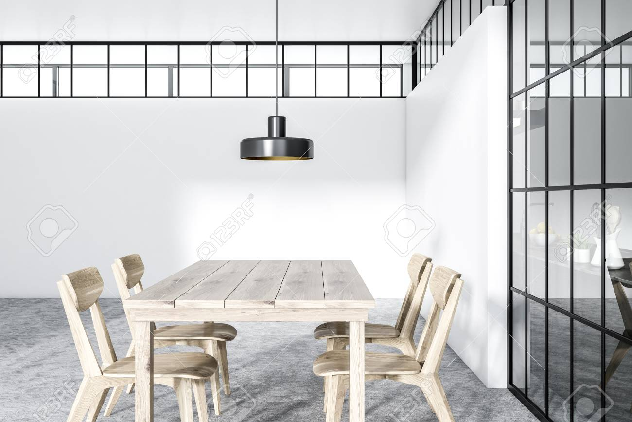 Modern white wall dining room interior with a hexagonal gray..