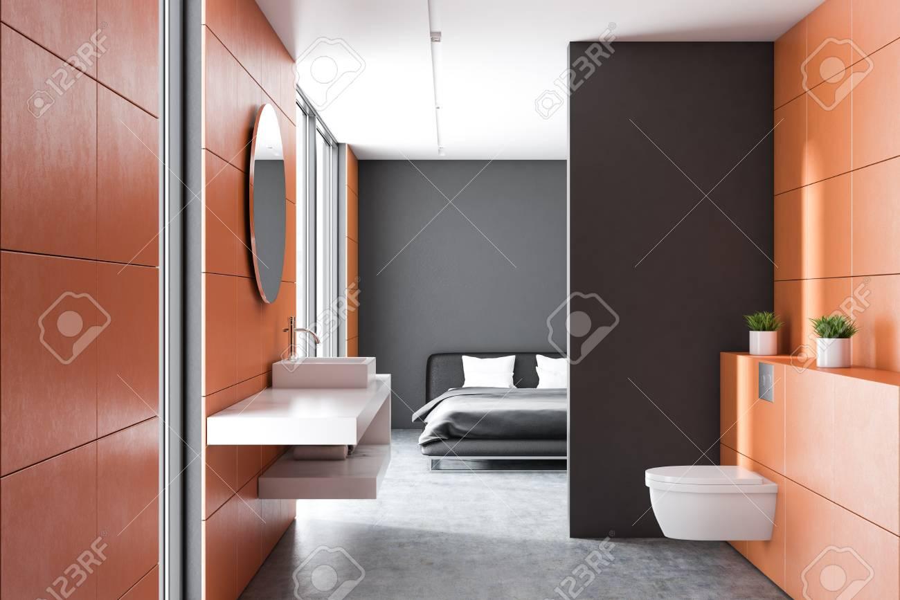 Modern Orange Wall Bathroom Interior With Concrete Floor White