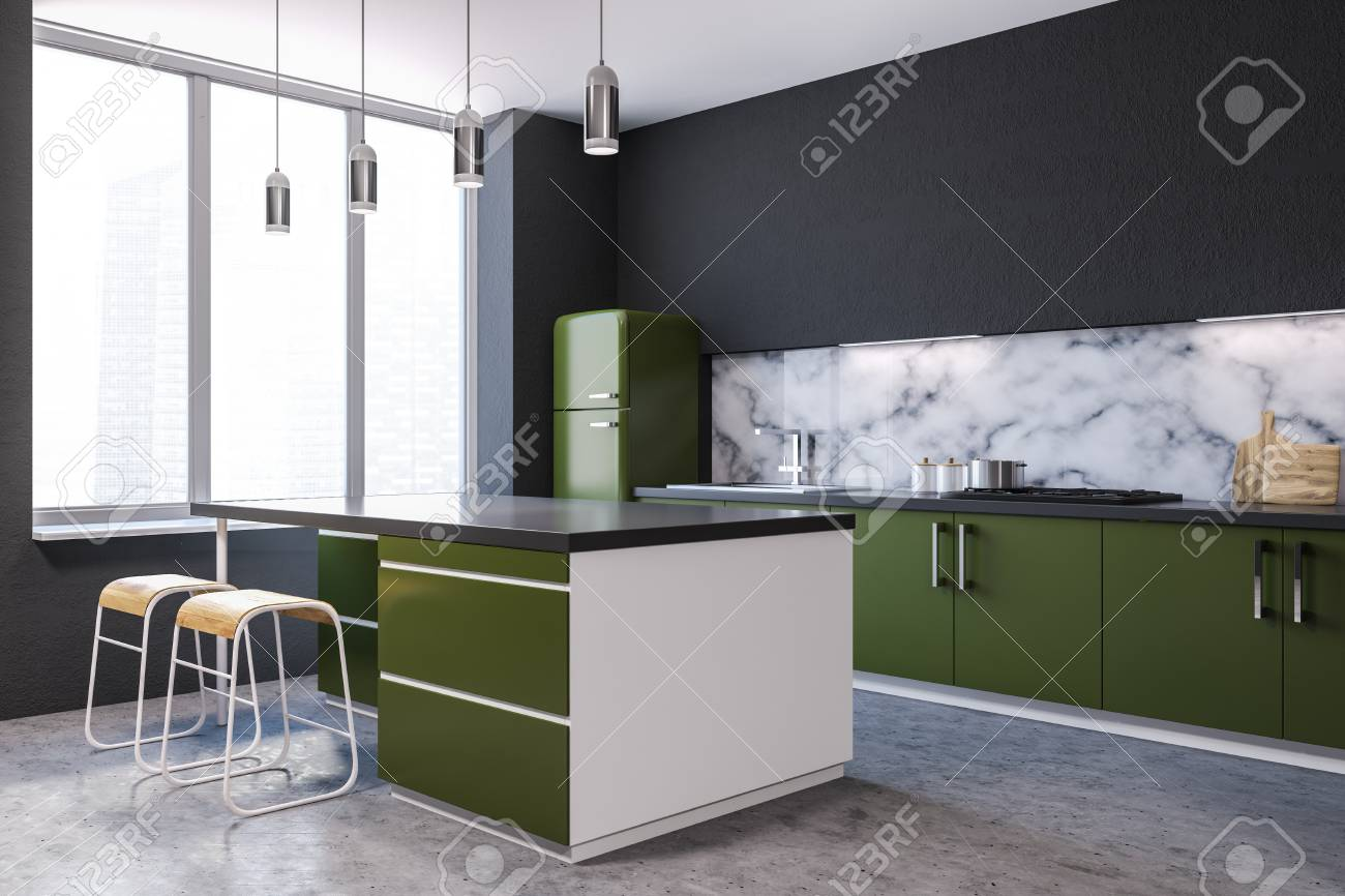 Modern Marble Wall Kitchen Corner With Large Windows A Concrete Stock Photo Picture And Royalty Free Image Image 107257604