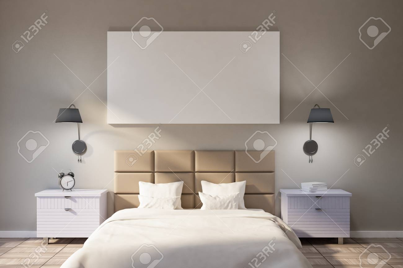 Minimalistic Bedroom Interior With Beige Walls A Wooden Tile
