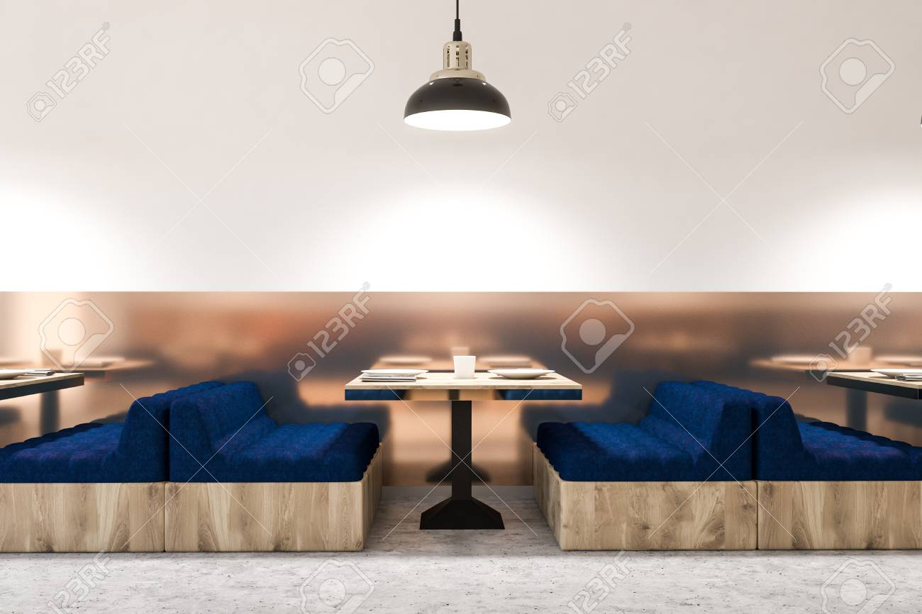 Comfortable Cafe Interior With White Walls Marble Floor Square Stock Photo Picture And Royalty Free Image Image 107727246