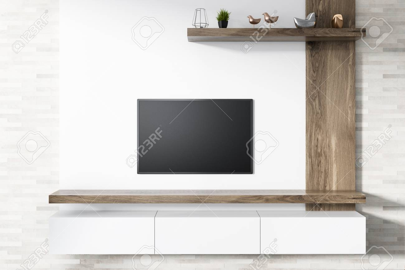 Modern Flat Screen Tv Set Attached To A White Wooden Wall Of