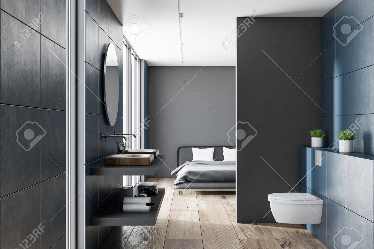 Modern Blue Wall Bathroom Interior With Wooden Floor, Wooden Sink And A  Toilet. Gray
