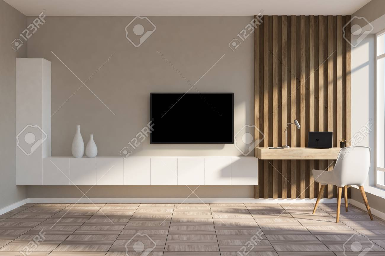 Stylish Home Office In Beige And Wooden Wall Living Room With Stock Photo Picture And Royalty Free Image Image 107716081