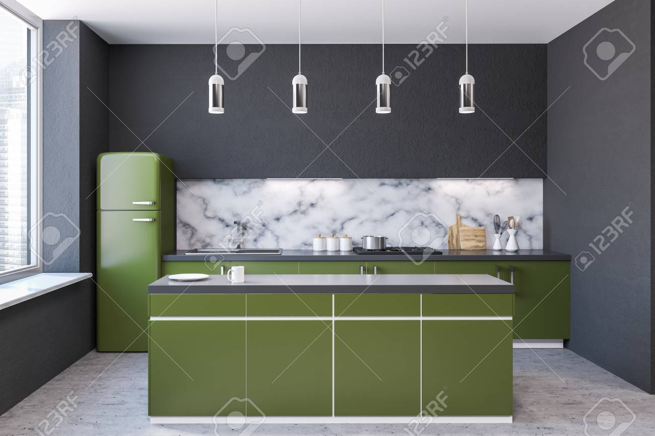 Modern Marble Wall Kitchen Interior With Large Windows A Concrete Stock Photo Picture And Royalty Free Image Image 108019917