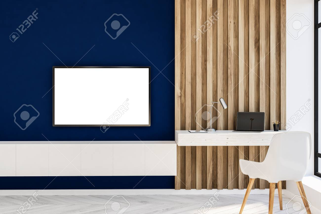 Stylish Home Office In Blue And Wooden Wall Living Room With Stock Photo Picture And Royalty Free Image Image 108093051