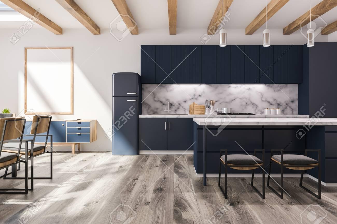 White Studio Flat Kitchen Interior With White Marble Wall Black