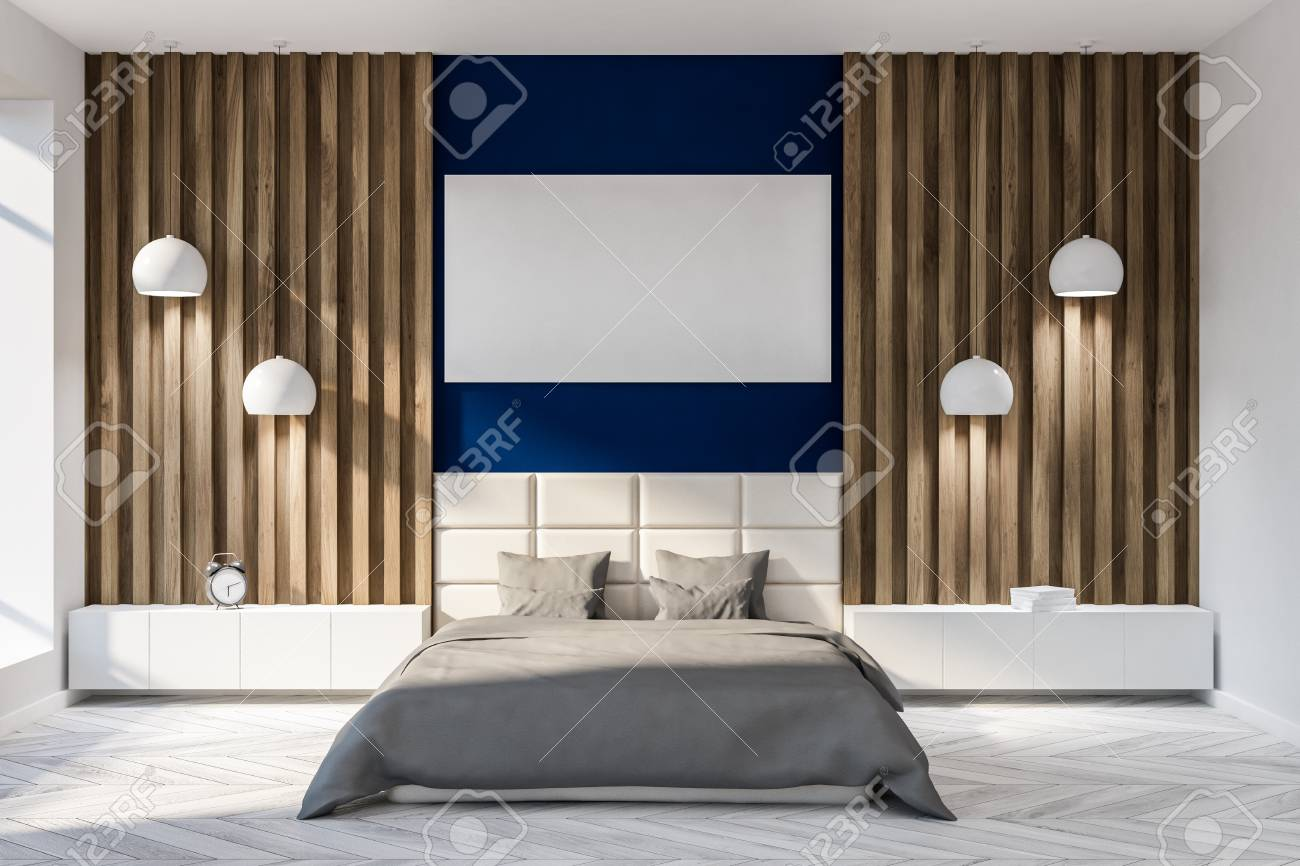 Modern Bedroom Interior With Dark Blue And Wooden Walls A Gray Stock Photo Picture And Royalty Free Image Image 108521951