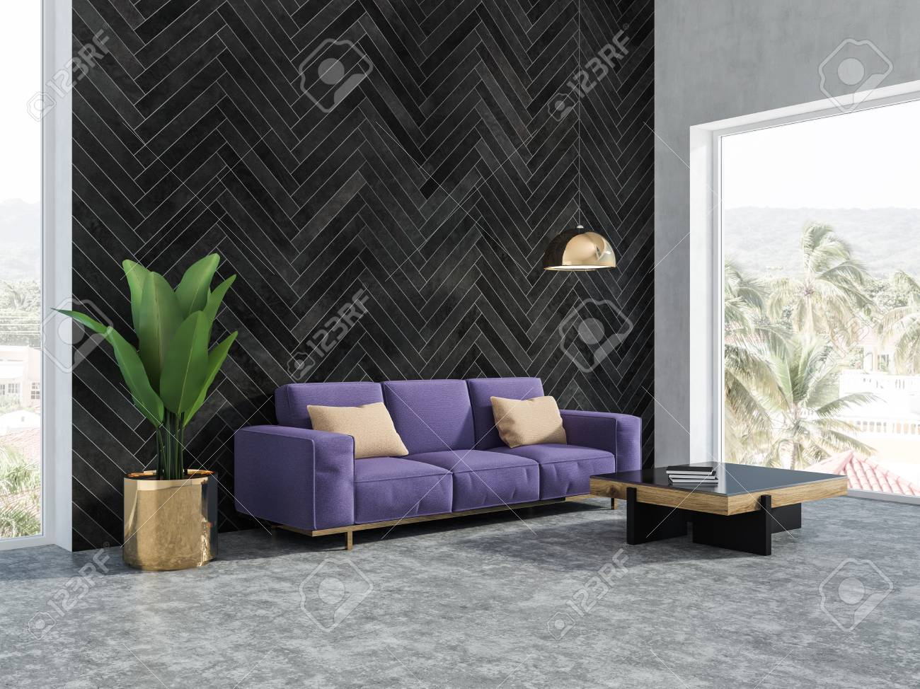 Awe Inspiring Black Wood Living Room Interior With A Concrete Floor A Purple Theyellowbook Wood Chair Design Ideas Theyellowbookinfo