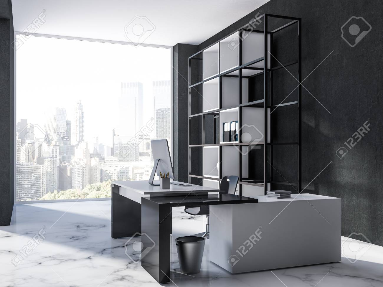 Side View Of Luxury Manager Office Interior With Black Walls Stock Photo Picture And Royalty Free Image Image 108522200