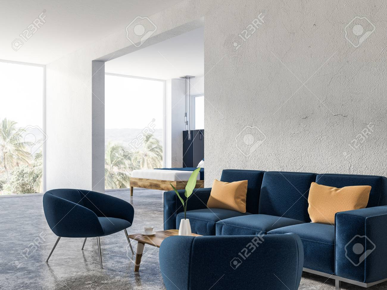 White Living Room Interior With Soft Blue Couch And Armchairs