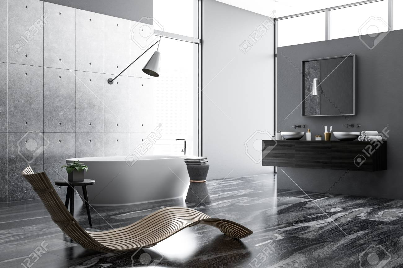 Concrete And White Bathroom Interior With A Black Marble Floor