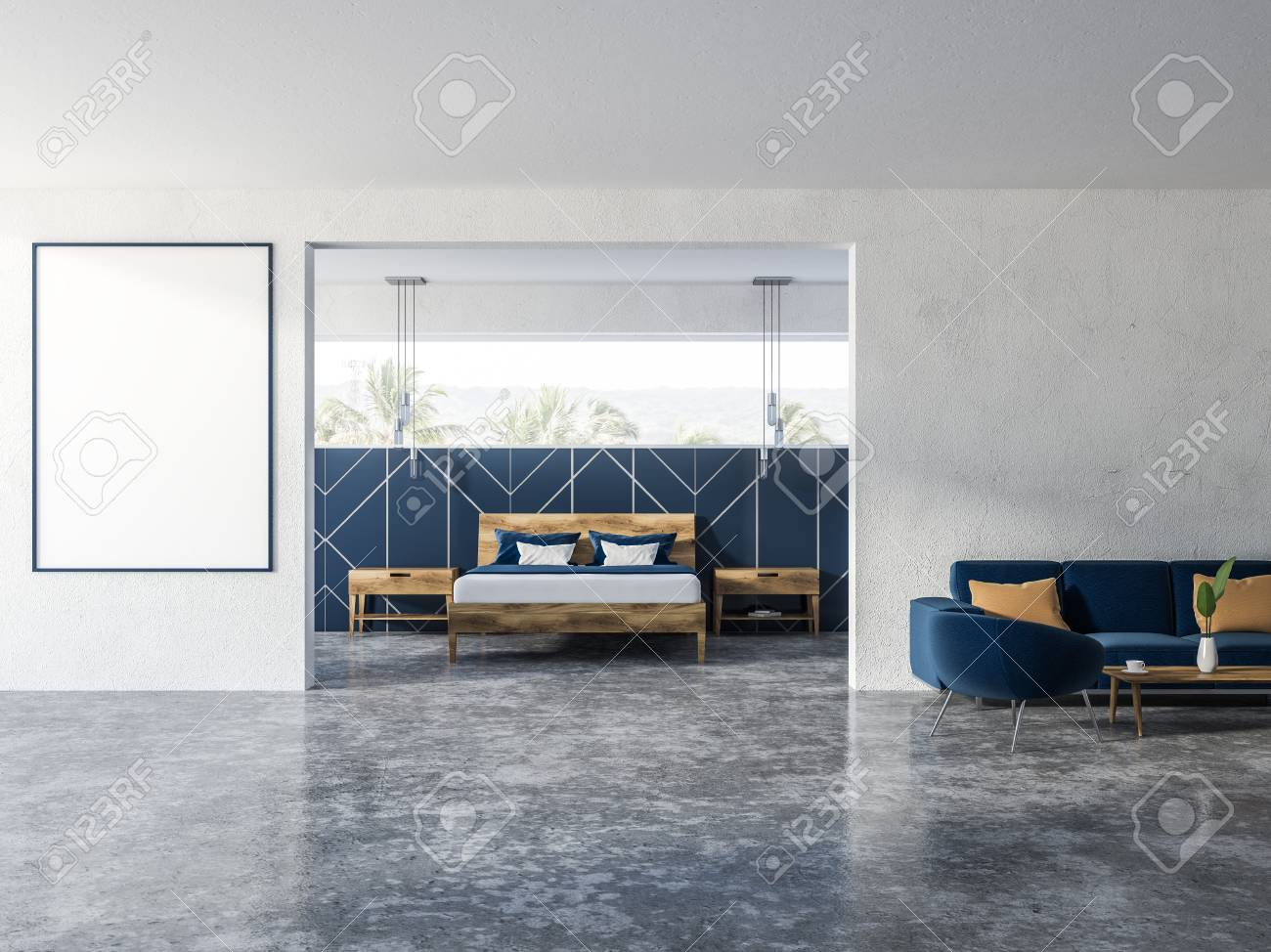 Blue And White Living Room Interior With Soft Blue Couch And