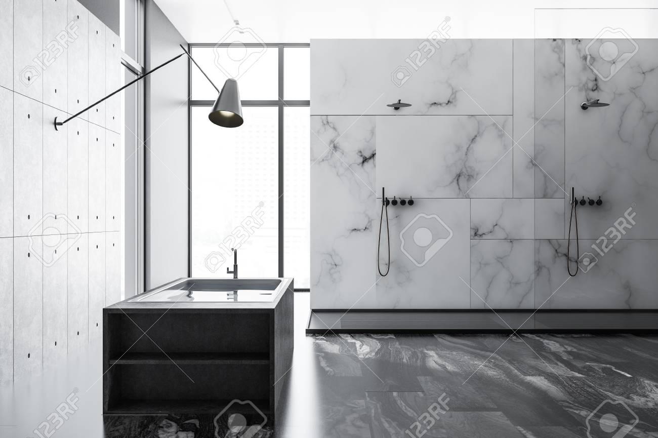 White Marble Bathroom Interior With A Black Marble Floor An Stock Photo Picture And Royalty Free Image Image 109249660
