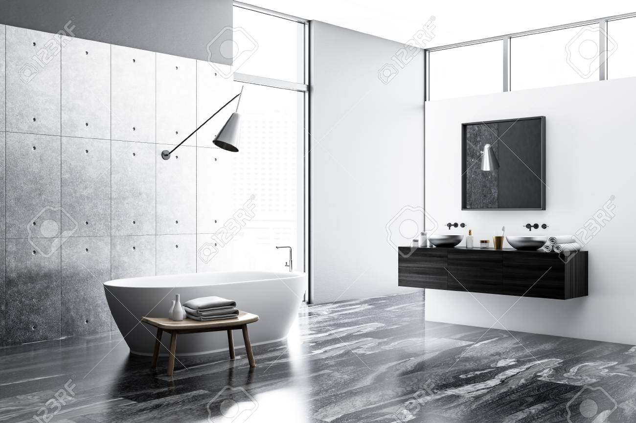 Concrete And White Bathroom Interior With A Black Marble Floor Stock Photo Picture And Royalty Free Image Image 109167269