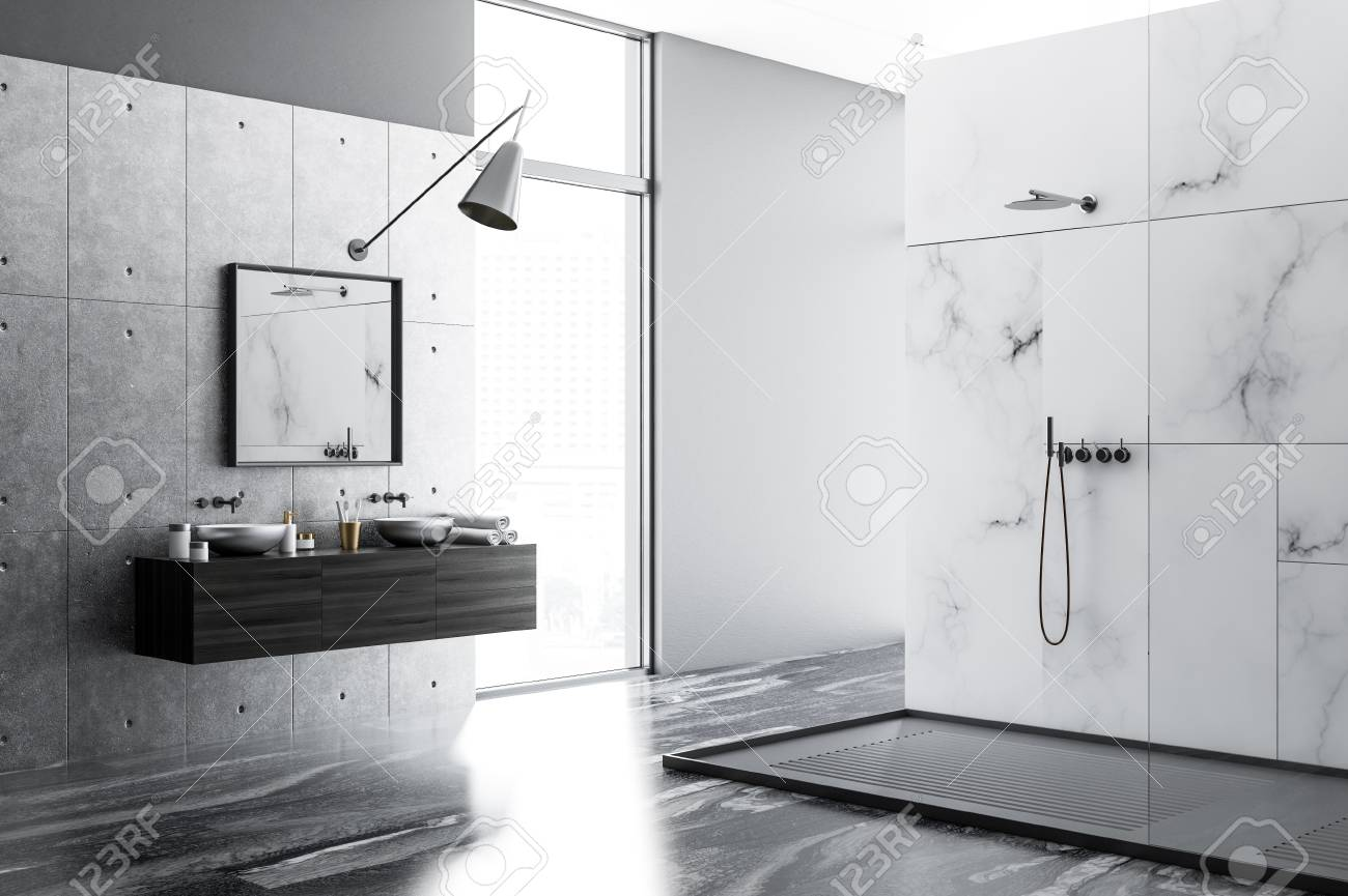 White Marble Bathroom Interior With A Black Marble Floor A Double Stock Photo Picture And Royalty Free Image Image 109246134