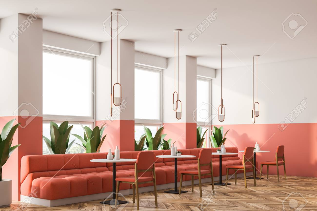 Magnificent Pink And White Loft Retro Cafe Interior With Wooden Floor Small Dailytribune Chair Design For Home Dailytribuneorg