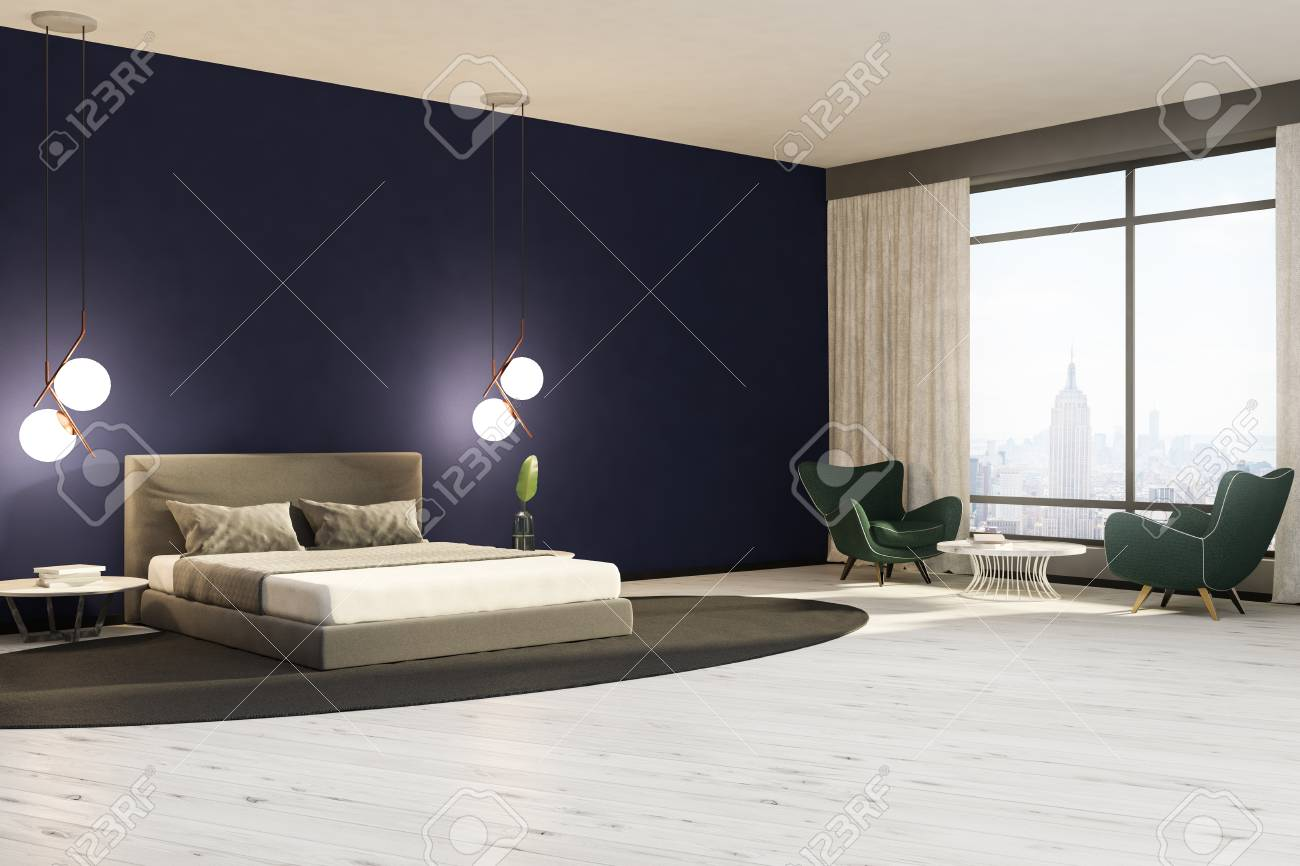 Minimalistic Bedroom Interior With Dark Blue Walls A White Wooden