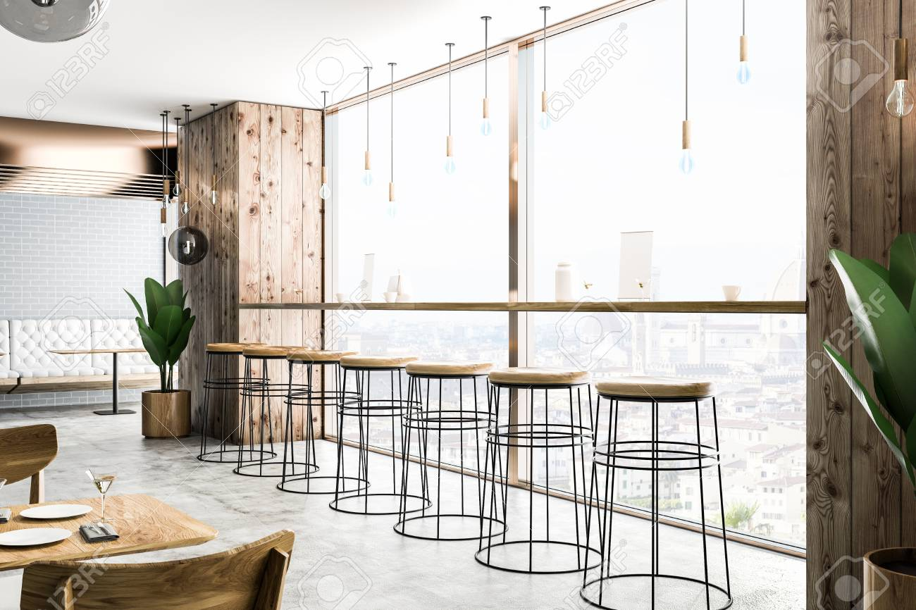 Enjoyable Side View Of Modern Bar With Wooden Walls Concrete Floor Long Theyellowbook Wood Chair Design Ideas Theyellowbookinfo