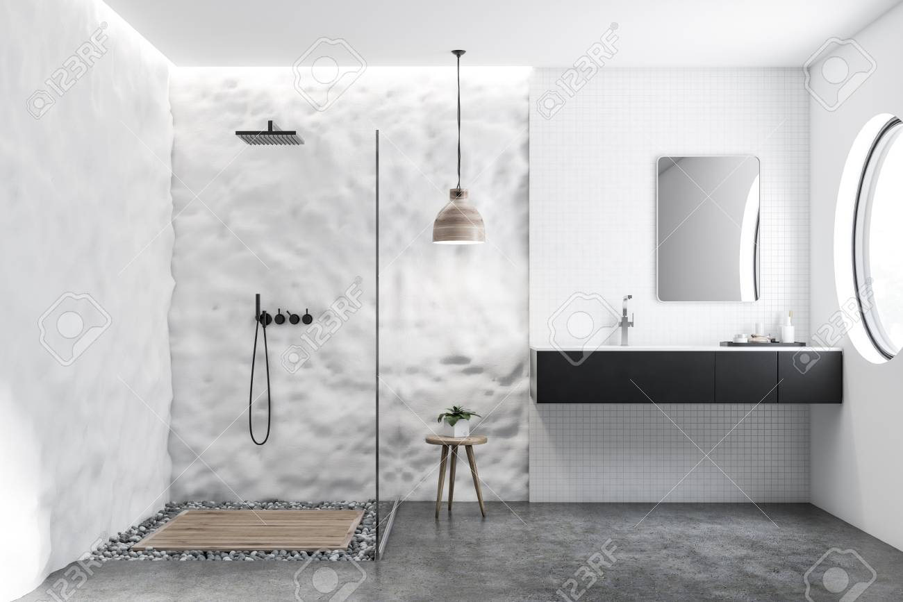 White Tile And Crude Wall Bathroom Interior With Black Sink Stock Photo Picture And Royalty Free Image Image 109497358