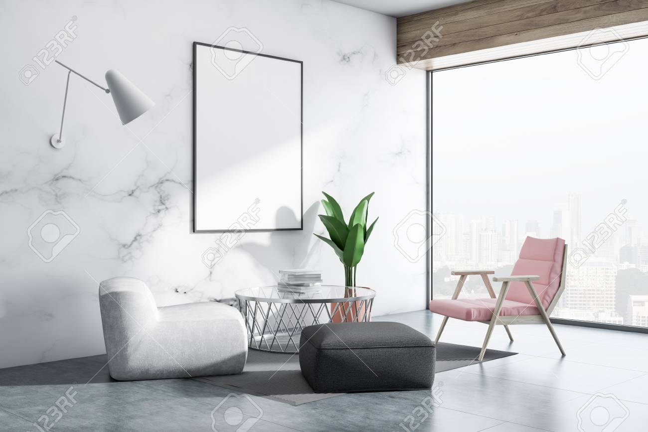 White marble living room interior with concrete floor, white,..