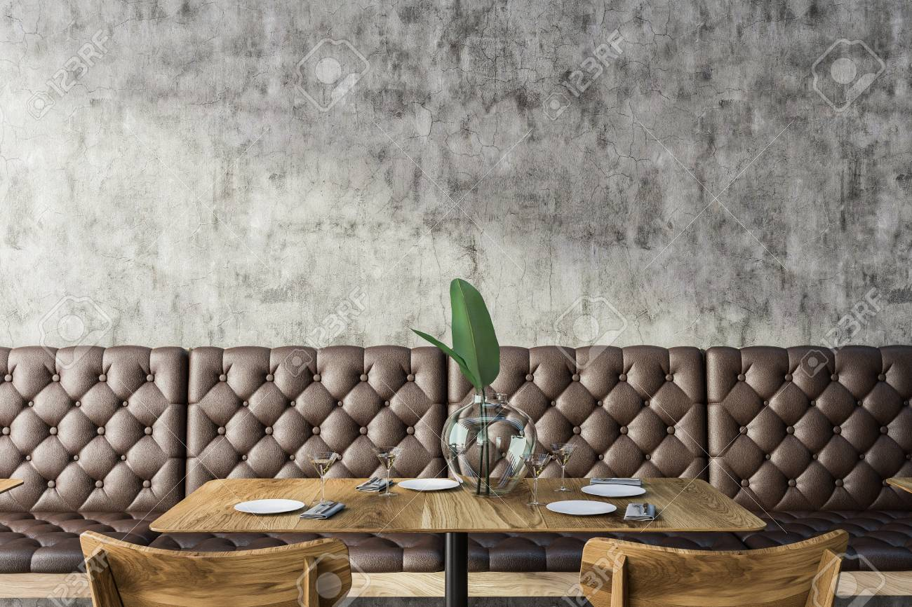 Sensational Grunge Restaurant Interior With Concrete Wall Square Wooden Gmtry Best Dining Table And Chair Ideas Images Gmtryco