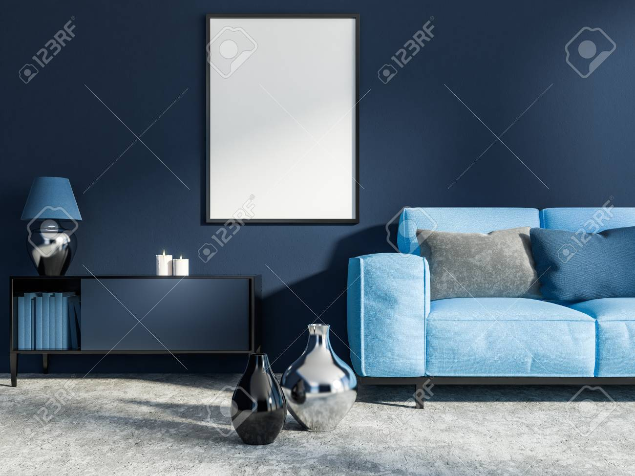 Miraculous Interior Of Living Room With Dark Blue Walls Concrete Floor Pdpeps Interior Chair Design Pdpepsorg