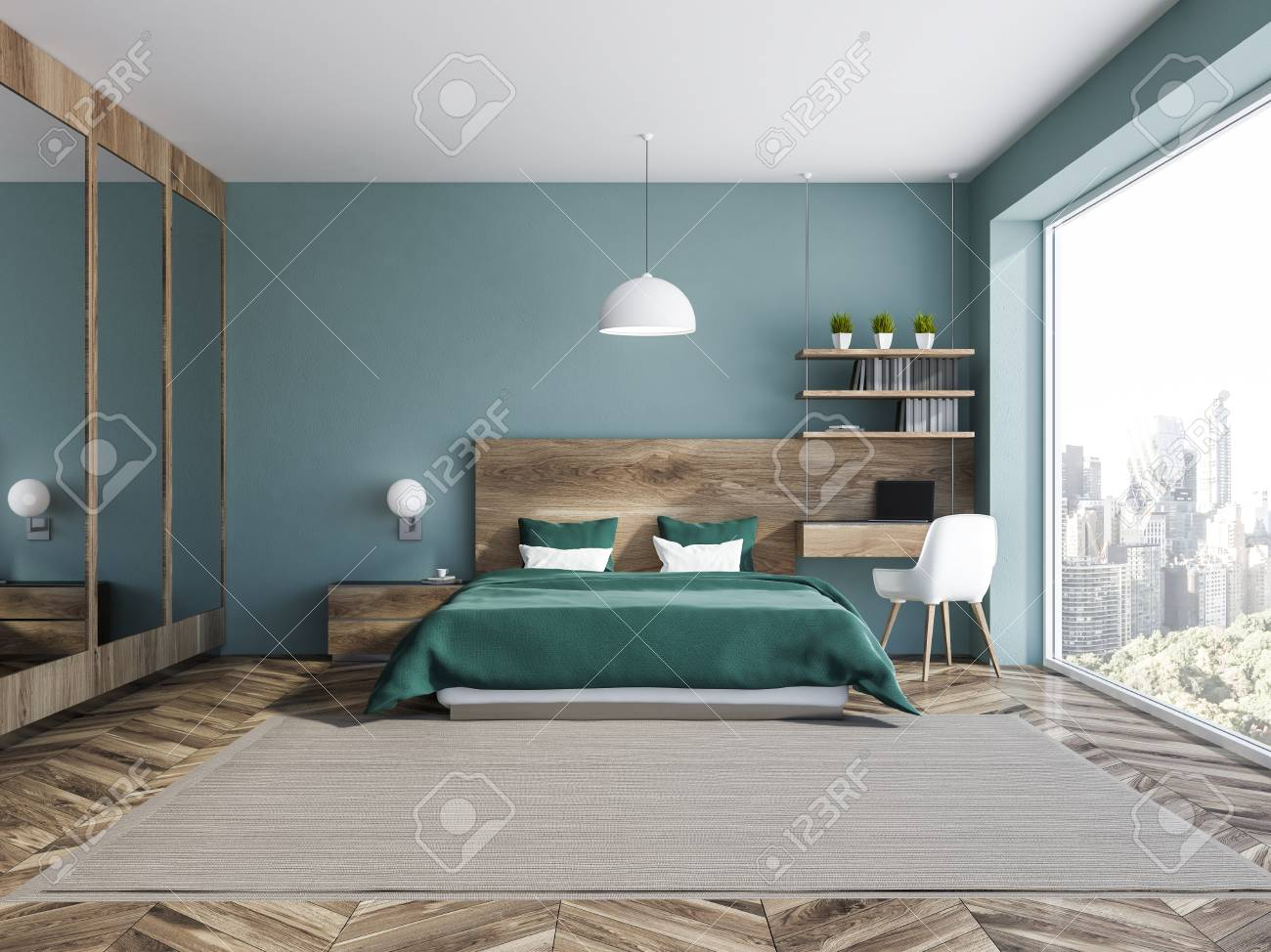 Interior Of Stylish Bedroom With Blue Walls Wooden Floor Green