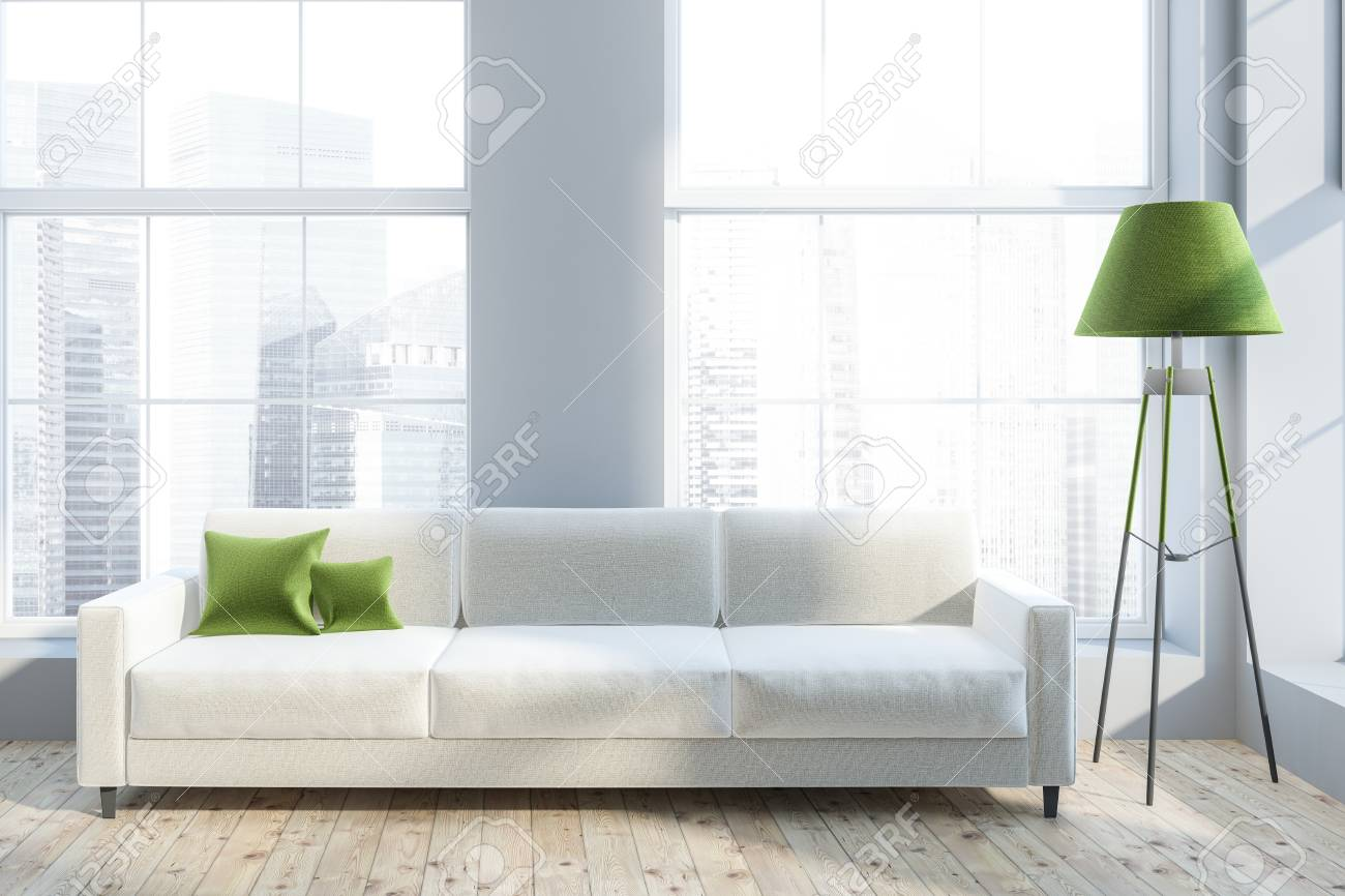 Luxury Living Room Interior With Gray Walls, Wooden Floor, White.. Stock Photo, Picture And Royalty Free Image. Image 110246847.