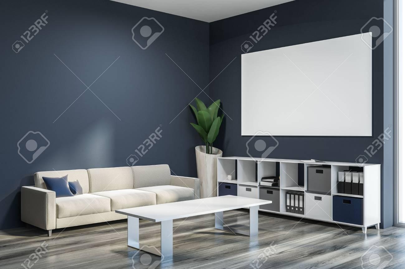 Dark Gray Living Room Corner With Wooden Floor Gray And White