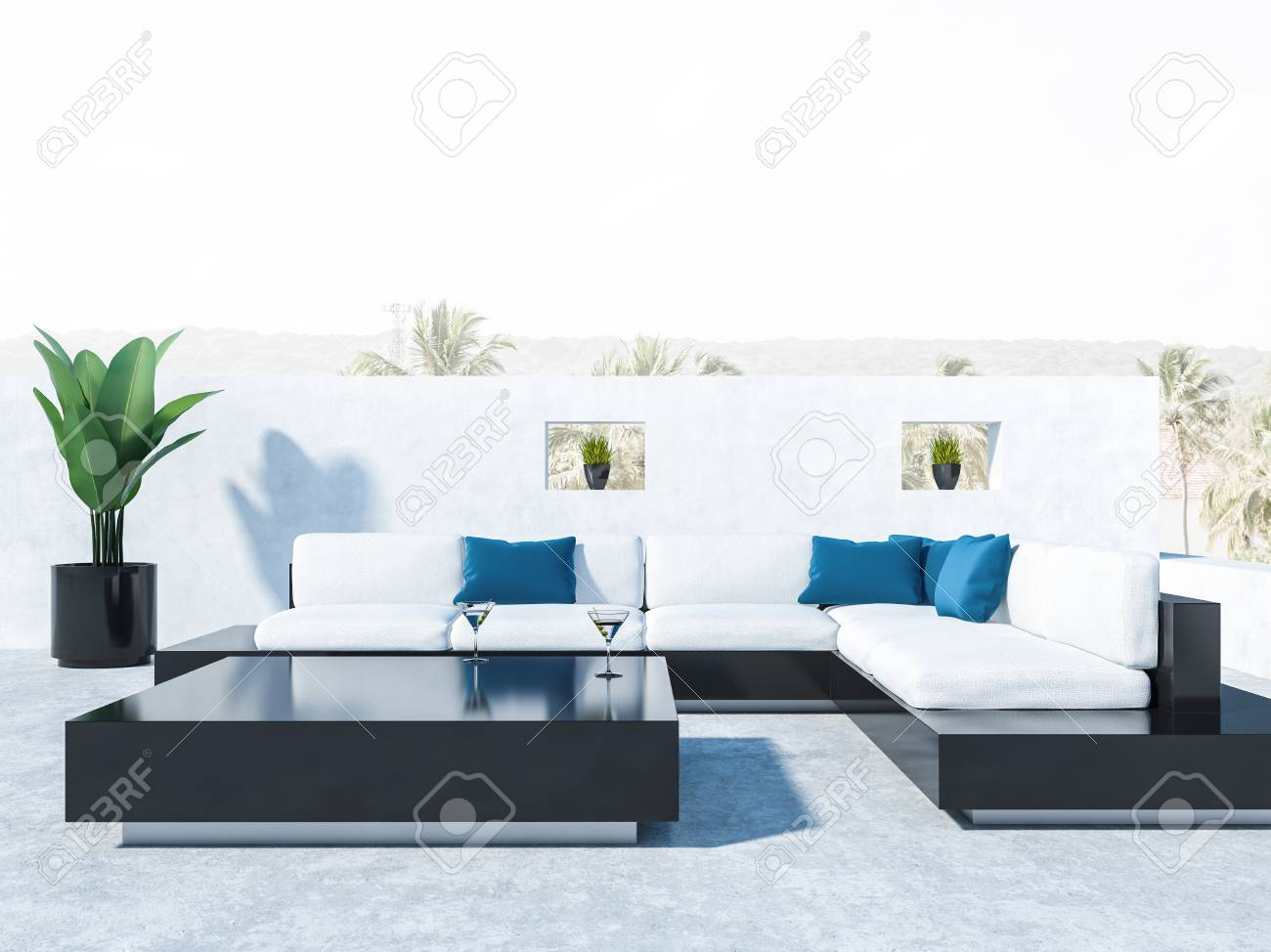 Brilliant Balcony Of A Luxury House With Black And White Sofas Blue Cushions Bralicious Painted Fabric Chair Ideas Braliciousco