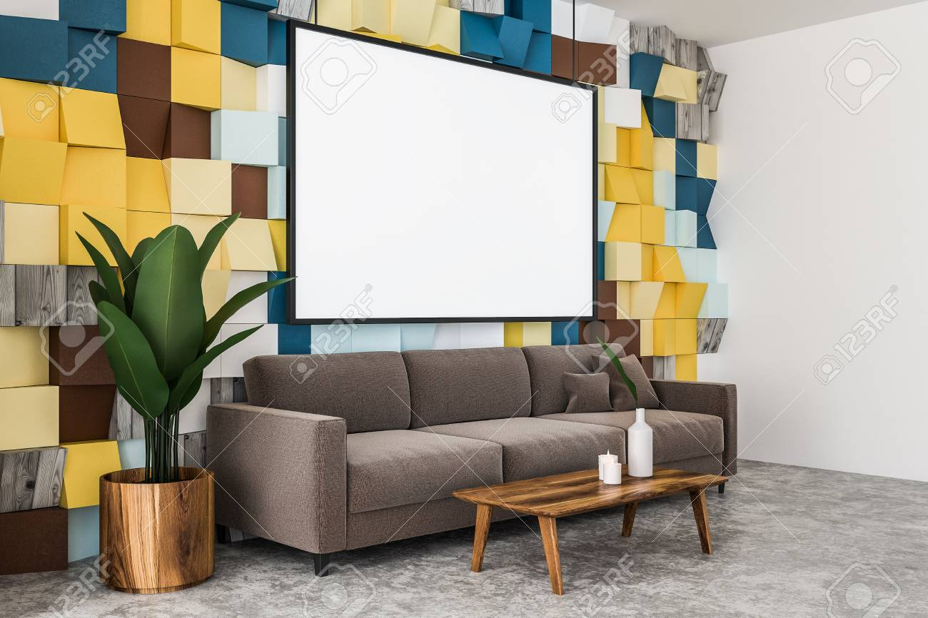 Cool Side Veiw Of Colored Tiles Wall Living Room With Concrete Floor Squirreltailoven Fun Painted Chair Ideas Images Squirreltailovenorg