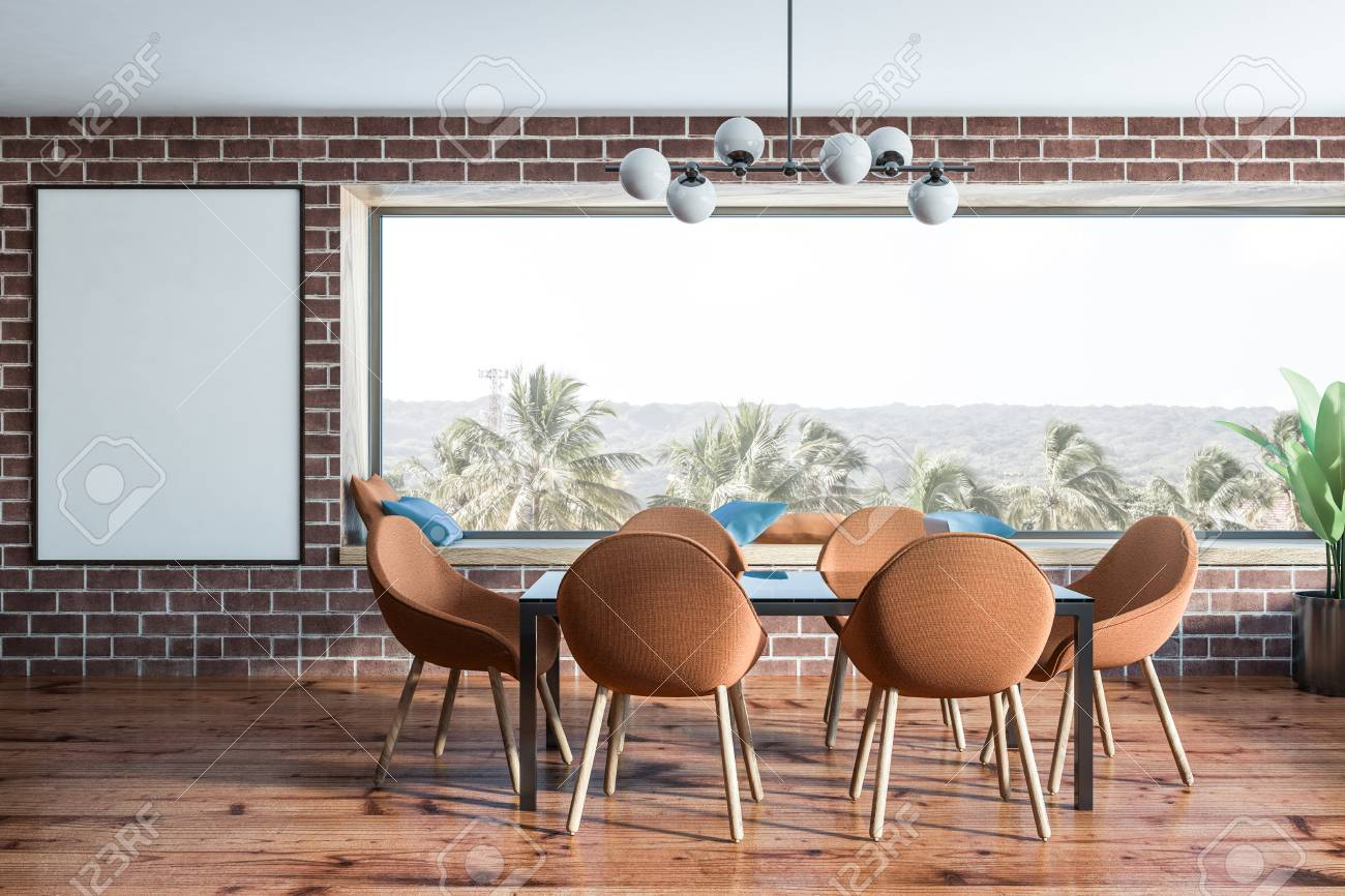Interior Of Stylish Dining Room With Brick Walls Wooden Floor Panoramic Windows Tropical