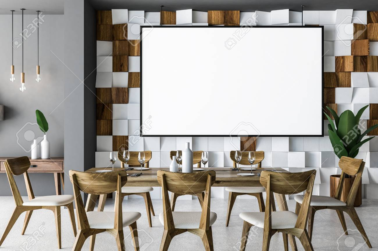 Stylish Dining Room Interior With Wooden Tiled Wall Concrete Floor