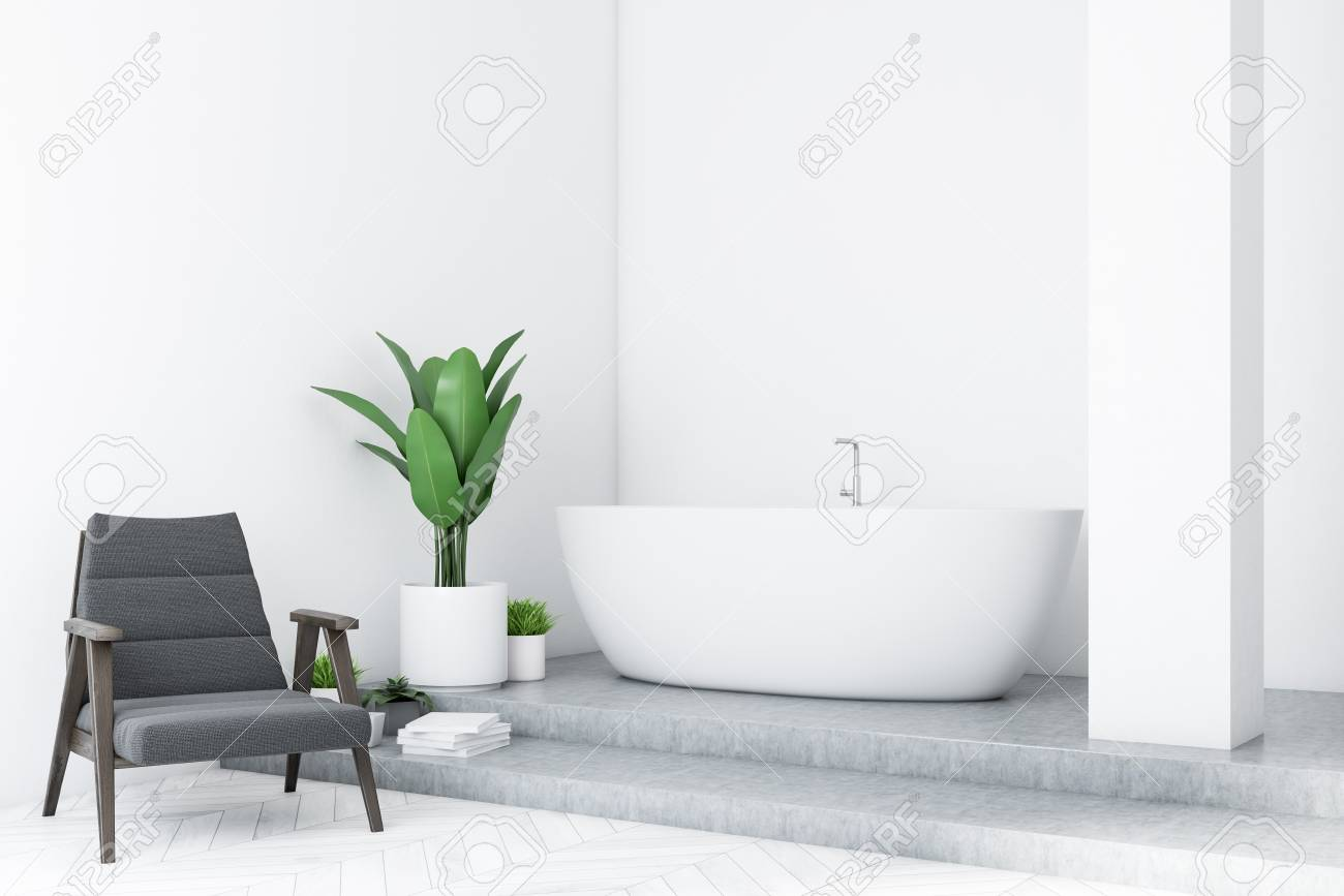 Modern bathroom interior with white walls concrete floor white