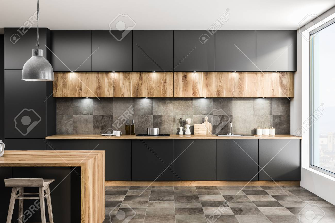 Modern Interieur Wit : Front view of modern kitchen interior with gray walls tiled