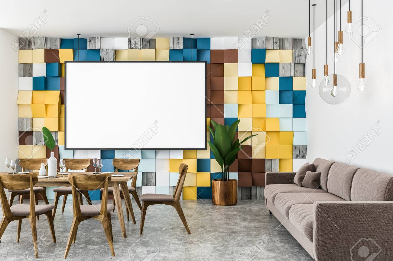Stylish Dining Room Interior With Colored Tiled Wall Concrete Floor