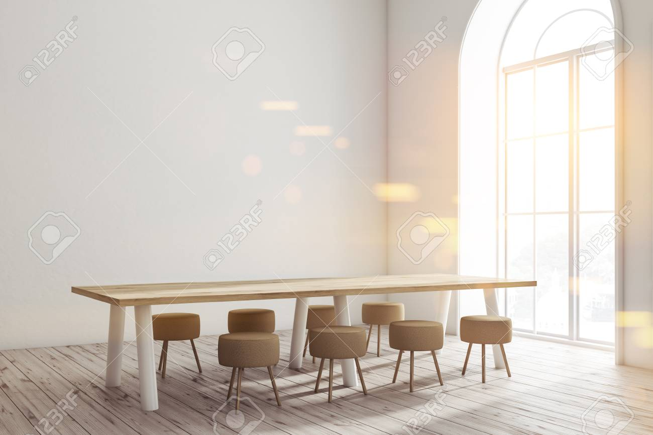 Genial Modern Dining Room Interior With White Walls, Wooden Floor, Long Table With  Small Chairs