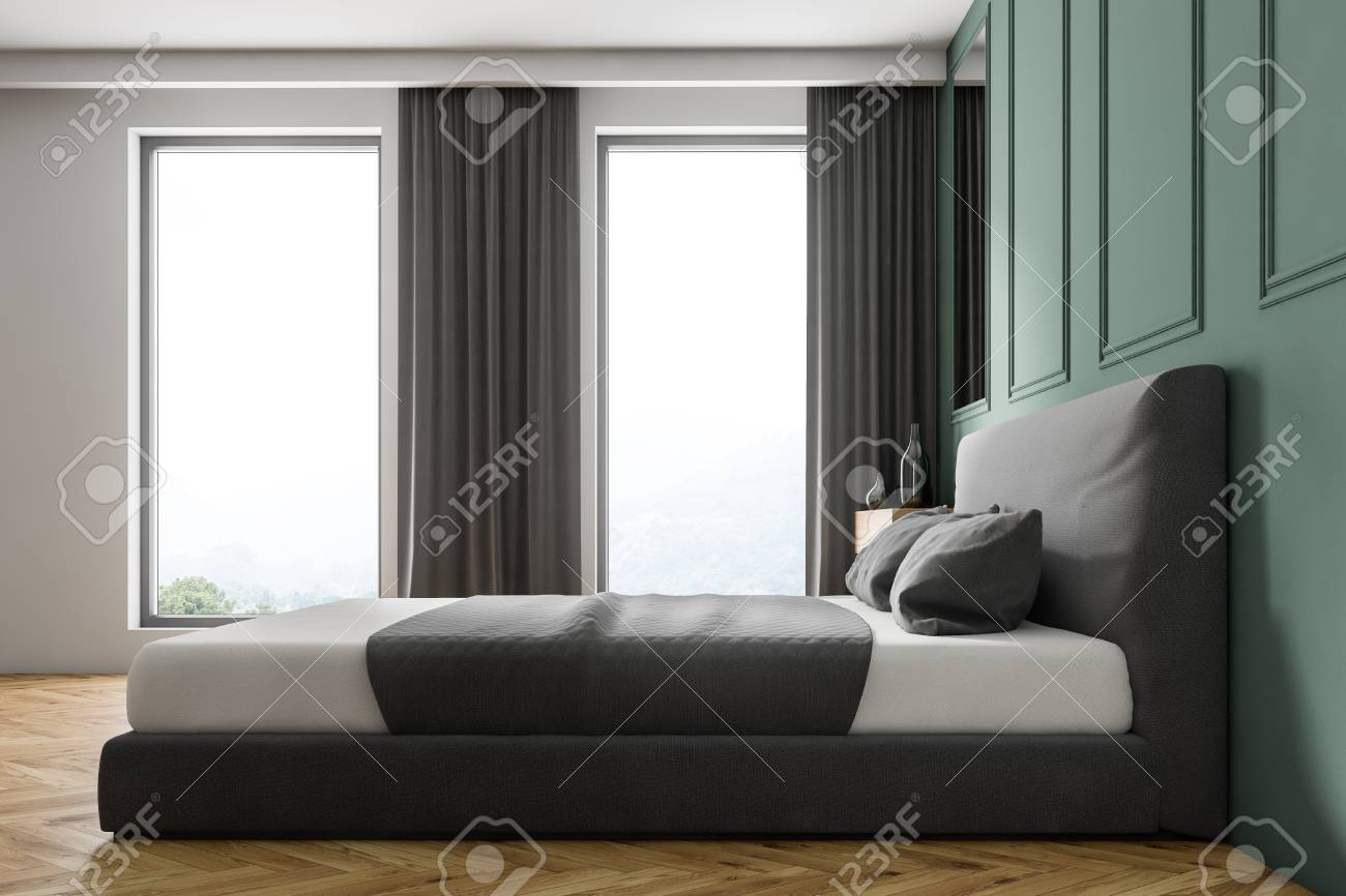 Side View Of Modern Bedroom With Green Walls Wooden Floor Gray Stock Photo Picture And Royalty Free Image Image 111023115