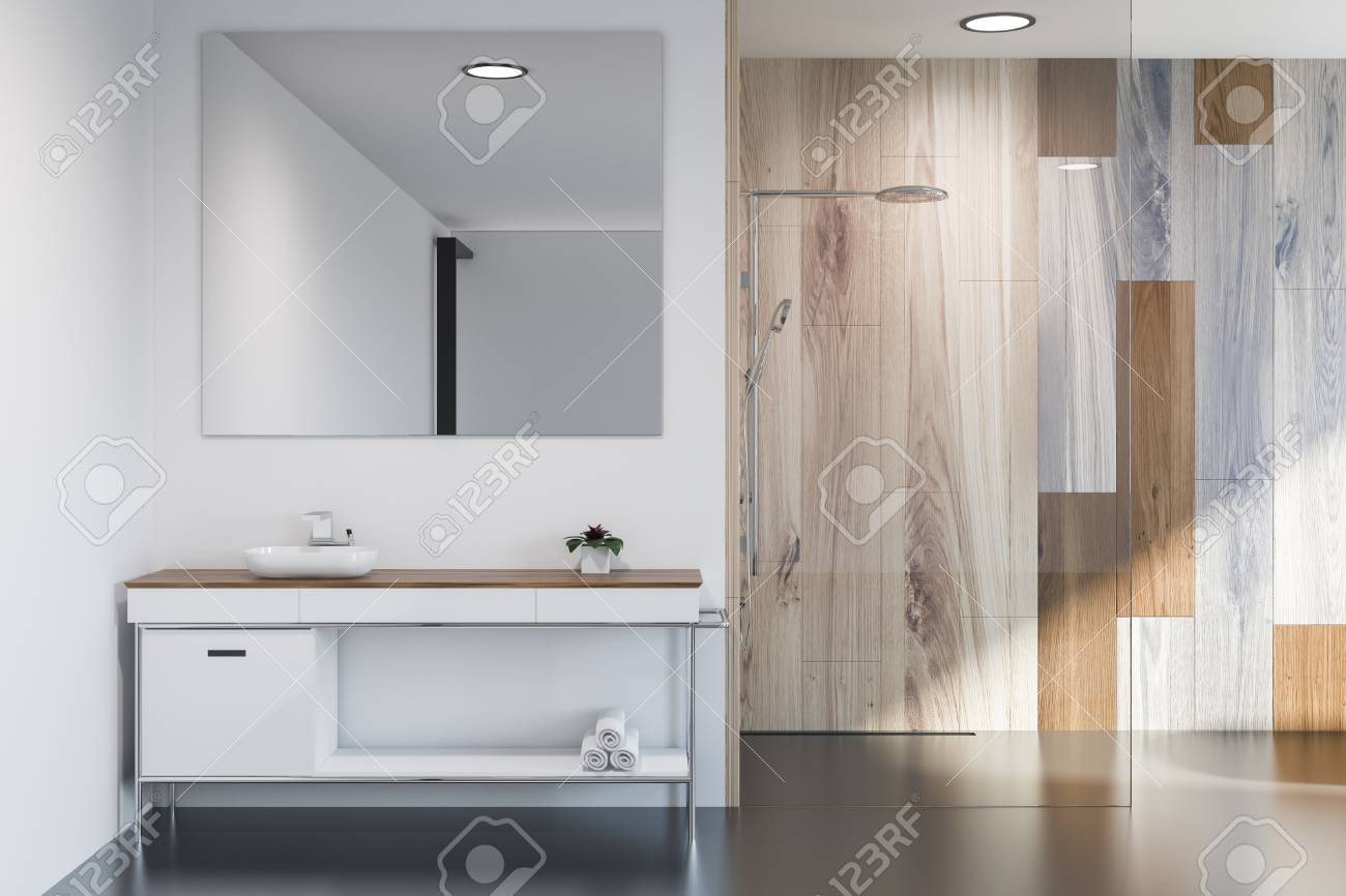 Modern Bathroom Interior With Gray And Wooden Walls Sink With Stock Photo Picture And Royalty Free Image Image 111023283