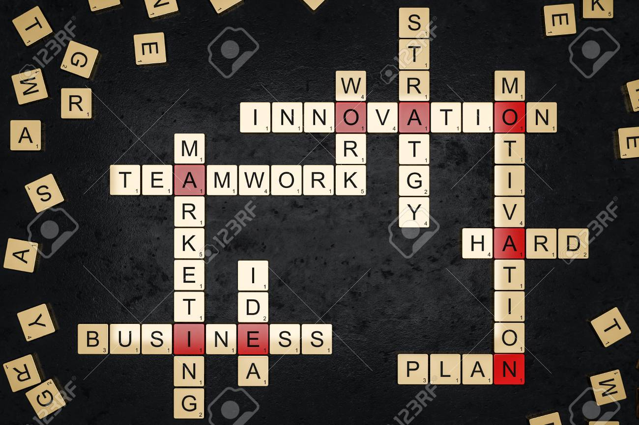 Business related words crossword spelled from gold alphabet tiles