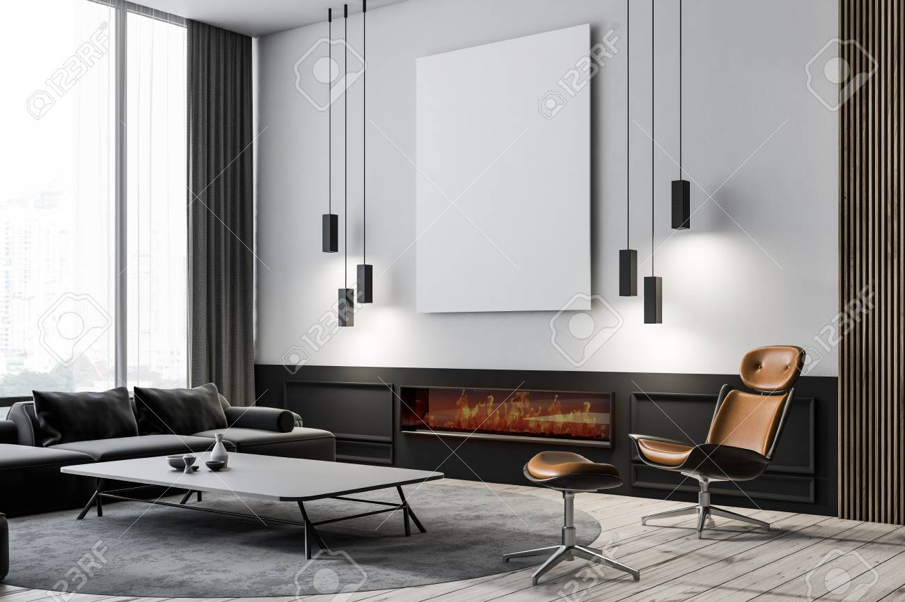 Modern living room corner with white walls, wooden floor, black..