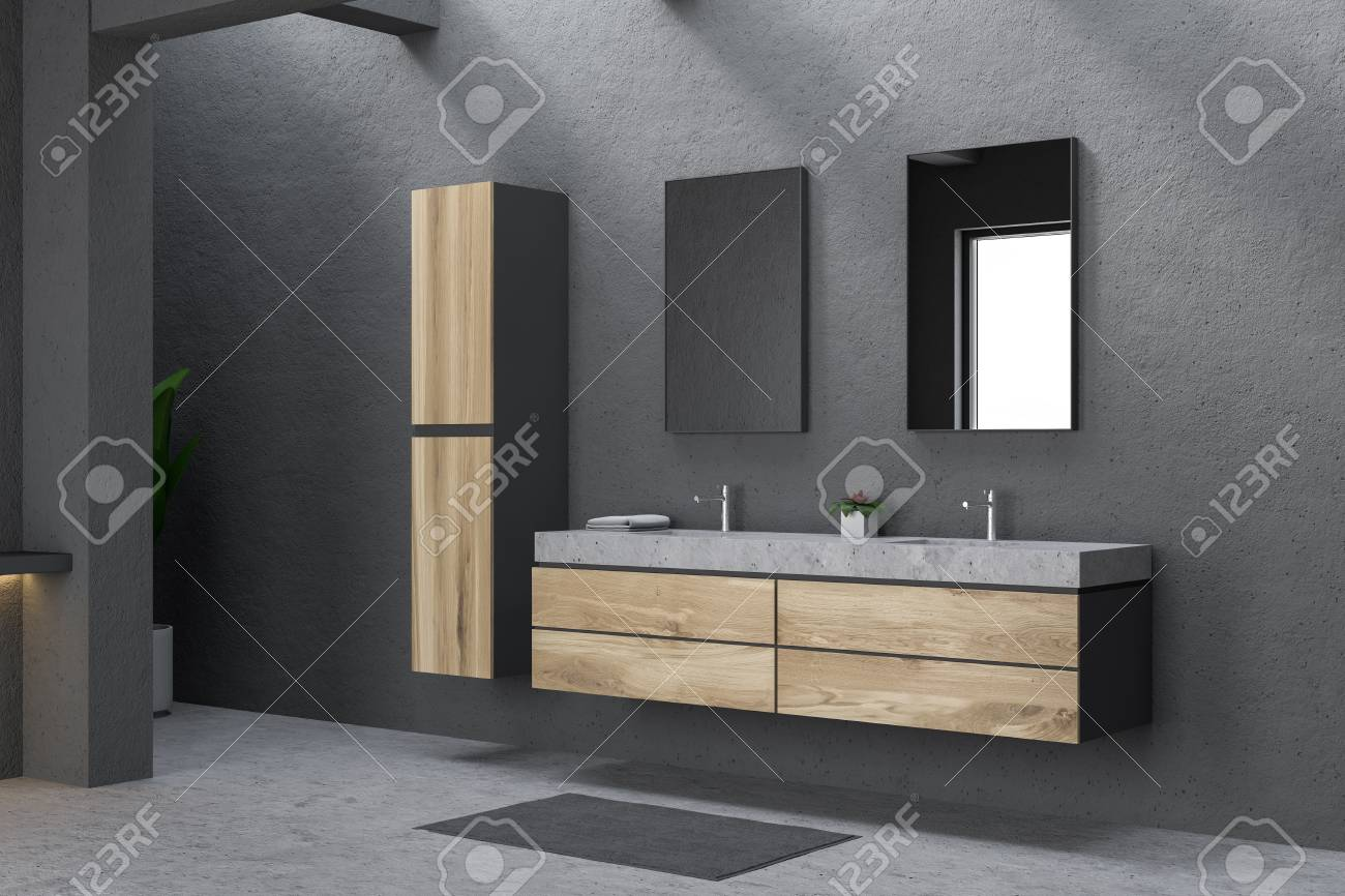 Corner Of Modern Bathroom With Gray Walls Concrete Floor And Stock Photo Picture And Royalty Free Image Image 111412716